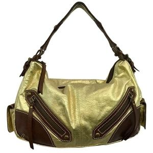 Isabella Fiore Brown Trim Gold Leather Hobo Bag